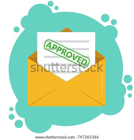 Envelope with approved document concept. Paper envelop with the approved letter. Vector illustration.