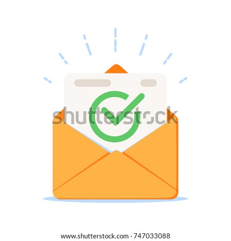 Envelope with approved document icon. Vector illustration of e-mail confirmation. Open envelope with a document. New letter. Sending correspondence. Flat illustration isolated on white background.