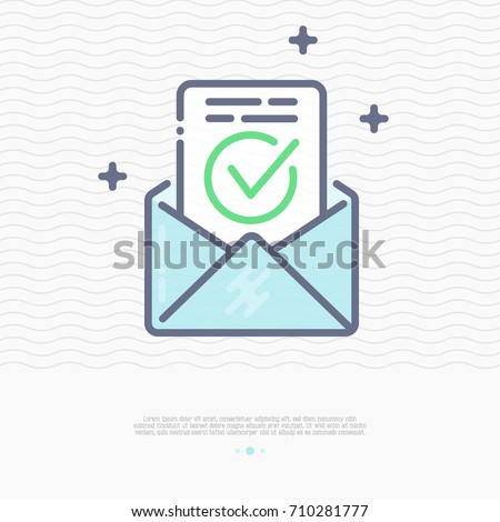 Envelope with approved document thin line icon. Vector illustration of e-mail confirmation.