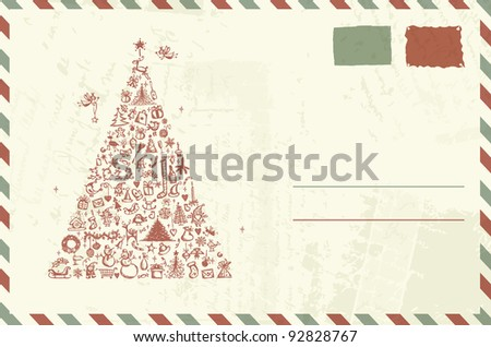 Envelope with christmas sketch and place for your text