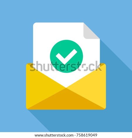Envelope with document and round green check mark icon. Successful e-mail delivery, email delivery confirmation, successful verification concepts. Modern flat design vector icon