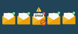 envelope with document, spam alert and skull icon. Virus, malware, email fraud, e-mail spam, phishing scam, hacker attack concept. Trendy flat design graphic with long shadow.