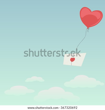 Envelope with heart flying high #367320692