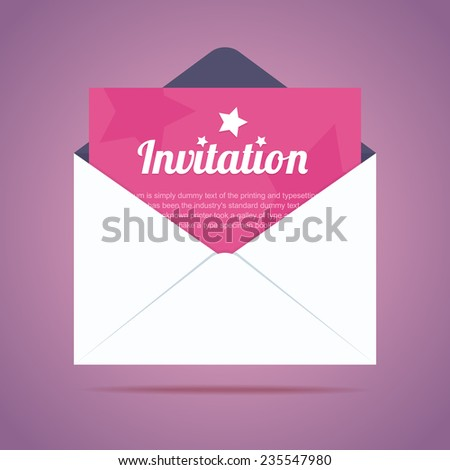 Envelope with invitation card and star shapes. Vector illustration