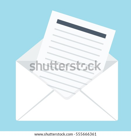 Envelope with letter. Flat vector cartoon illustration. Objects isolated on a white background.