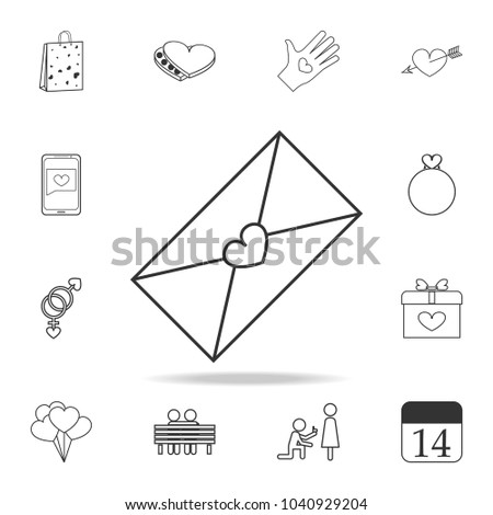 envelope with love letter icon. Set of Love element icons. Premium quality graphic design. Signs, outline symbols collection icon for websites, web design, mobile app on white background