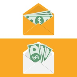 Envelope with money. Set of white and yellow paper open envelope with dollars. Sending, receiving, rewarding. Financial gift. Cash icon flat design. Isolated on background. Vector illustration.