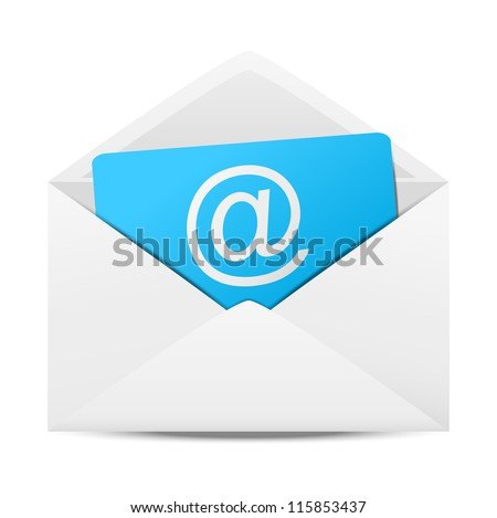 Envelope with paper sheet - concept of email - stock vector