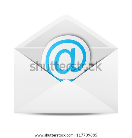 Envelope with paper symbol of email