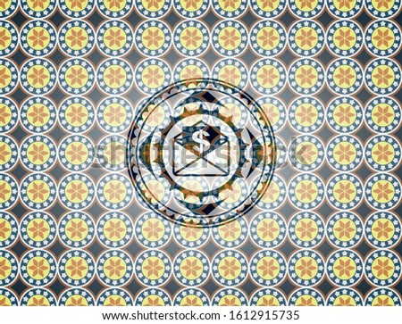 envelope with paper with money symbol inside icon inside arabic emblem background. Arabesque decoration.