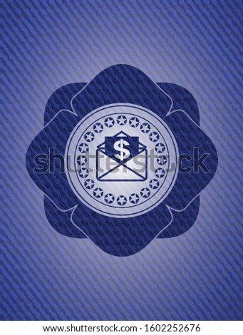 envelope with paper with money symbol inside icon inside badge with denim background