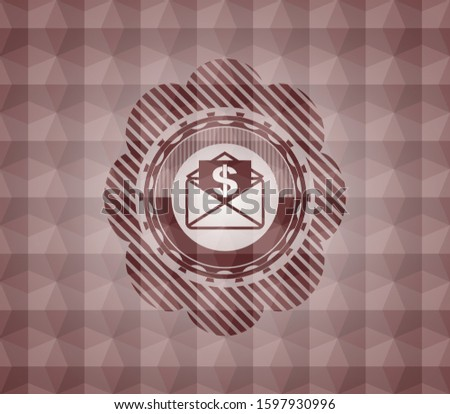 envelope with paper with money symbol inside icon inside red geometric pattern emblem. Seamless.