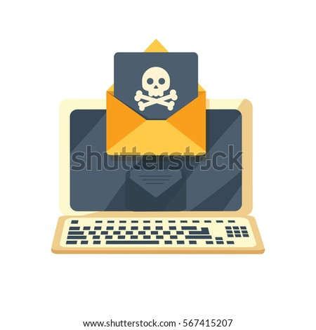 envelope with skullon the