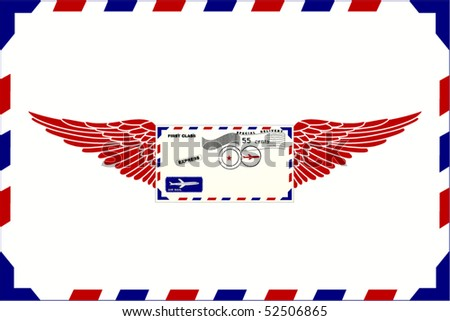 Envelope with wings (Use background as envelope as well)