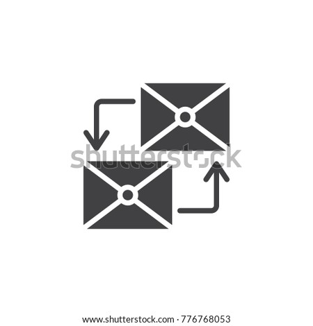 Envelopes with circular arrows icon vector, filled flat sign, solid pictogram isolated on white. Mailing symbol, logo illustration.