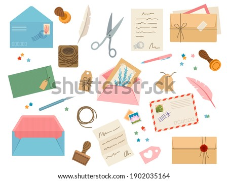 Envelopes with postmarks. Vintage paper mail letters with postage stamp, cards, sealing wax, scissors, twine, tags and pens. Post vector set of envelope and postcard for correspondence illustration Сток-фото ©