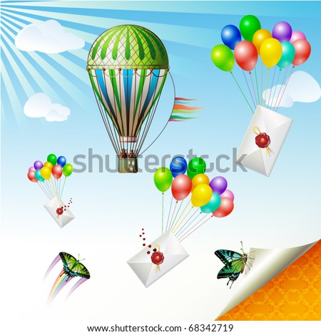 Envelopes with seal raised by balloons, vector illustration