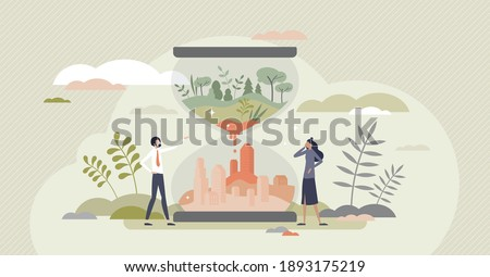 Environment clock as nature climate and resources exhaustion for city needs tiny person concept. Sand hourglass countdown to global problems vector illustration. Ecosystem sustainability preservation.