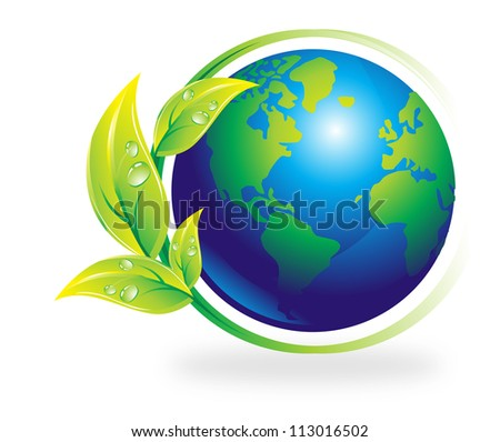 Environment, earth surrounded by a plant, vector illustration