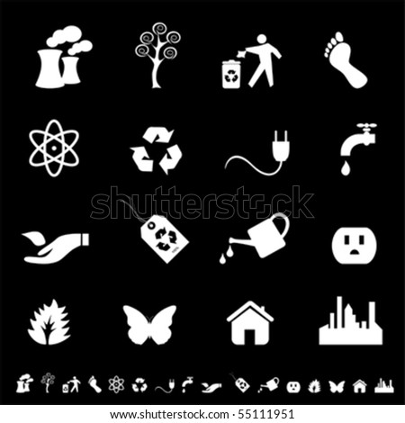 Environment firendly ecology symbols icon set