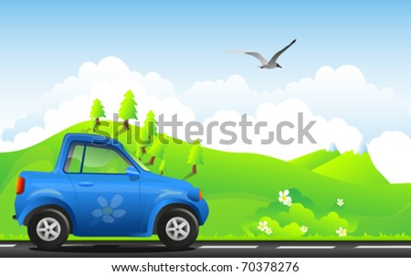 environment friendly car on a