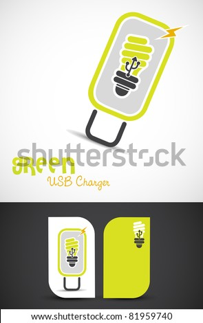 Environment-friendly usb-charger icon such logo, EPS10 vector.