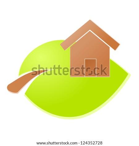Environment home icon or logo green ecology