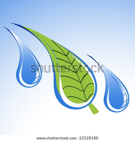 environment icon leaf in water droplet - stock vector