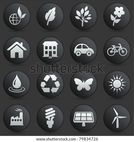 Environment Icon on Round Black and White Button Collection Original Illustration