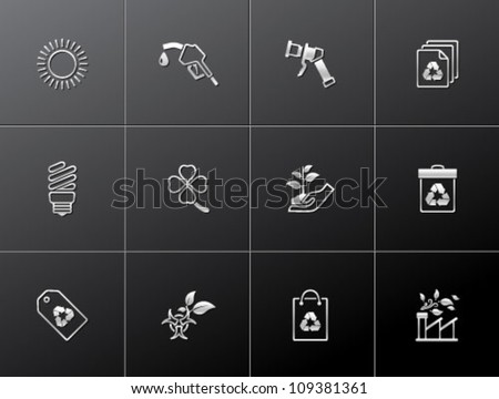 Environment  icon series in metallic style.