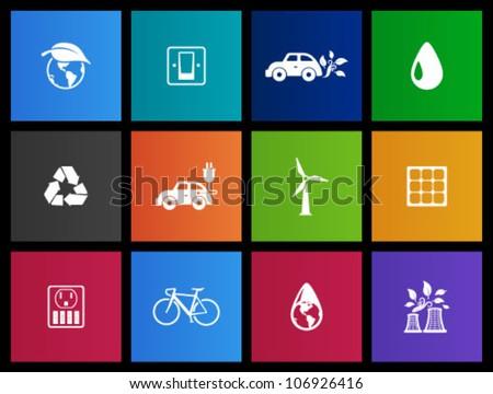 Environment  icon series in Metro style.