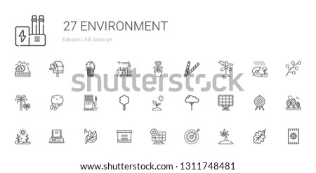 environment icons set. Collection of environment with palm tree, darts, solar panel, box, leaf, drought, tree, sprout, gas station, frog. Editable and scalable environment icons.