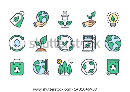 Environment related color line icon set. Ecology and nature colorful linear icons. Eco friendly and Eco line icons flat color outline vector sign collection.