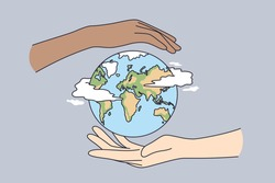 Environment saving, traveling, protecting earth concept. Two human hands holding planet Earth taking care of nature and ecology, supporting ecology vector illustration