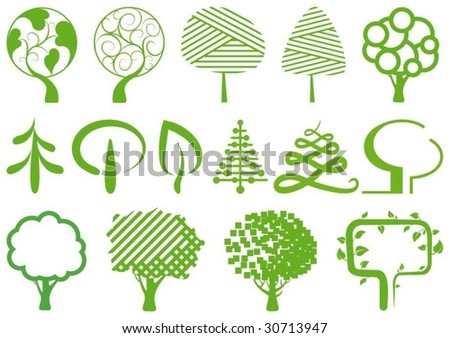 Environment symbols. Simple icons of trees