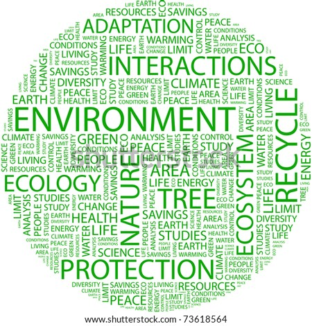 ENVIRONMENT. Word collage on white background. Vector illustration. Illustration with different association terms.