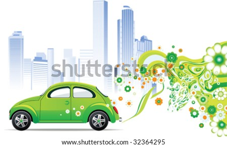 Environmental car. All elements and textures are individual objects. Vector images scale to any size.