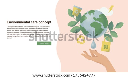 Environmental care and protection, sustainability concept. Slide or landing page layout with eco illustration. Hand and earth, recycle, energy, cloud, leaf, water, eco bag icons.