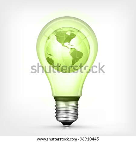 Environmental Concept Globe in Bulb on Grey Background. Vector.