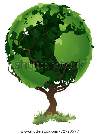 Environmental concept. Tree forming the world globe in its branches and leaves - stock vector