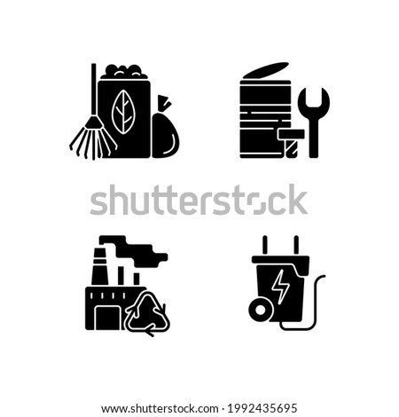 Environmental concern black glyph icons set on white space. Yard waste collection. Scrap iron and aluminum components. Recovery and reprocessing. Silhouette symbols. Vector isolated illustration Foto stock ©