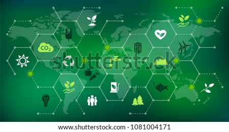 environmental consciousness / environmental challenges vector illustration
