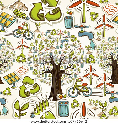 Environmental conservation hand drawn icons seamless pattern background. Vector illustration layered for easy manipulation and custom coloring.