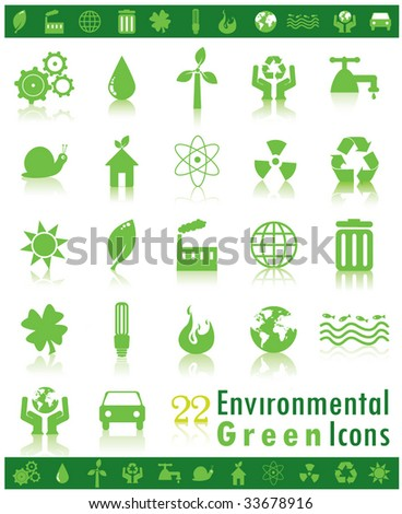 Environmental Green Icons - stock vector