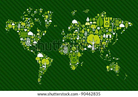 Environmental icon set in Globe world map. Vector file available.
