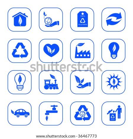 Environmental icons - blue series - stock vector