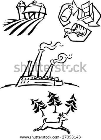 environmental issue pictograms