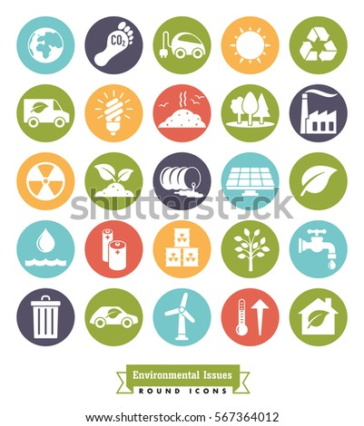 Environmental Issues icon set. Collection of Environment and Climate related round color vector icons