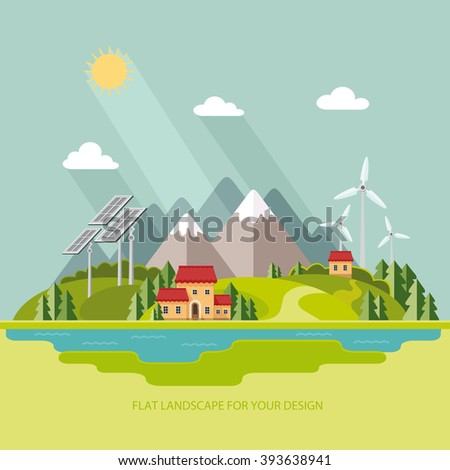 environmental landscape cottages mountains in the background solar