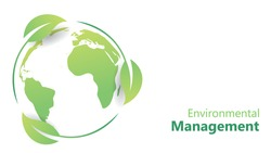 environmental management concept. earth globe map inside leafs and custom text placement for go green and eco friendly web page, poster and presentation vector illustration